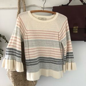 Striped Bell Flare Sleeve Cropped Loft Sweater
